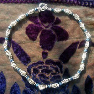Sterling Silver Blue Glass Bead Necklace